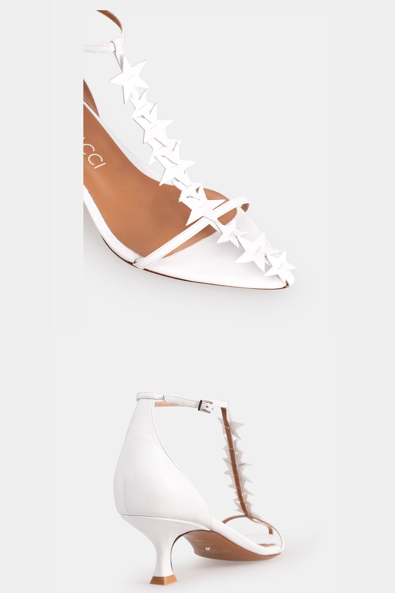 Meteor Star Embellished T-Strap High Heels - White