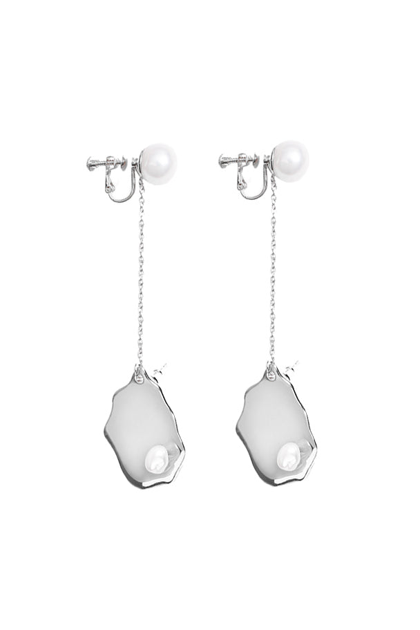 Paula Baroque Pendant Pearl Earrings - Platinum Plated