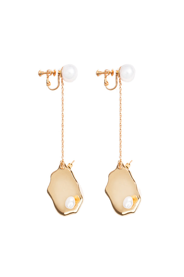 Paula Baroque Pendant Pearl Earrings - Gold Plated