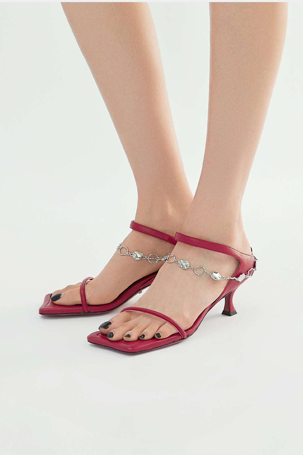 Paz Metal Chain Square Slippers - Red
