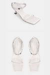 Paz Metal Chain Square Slippers - White