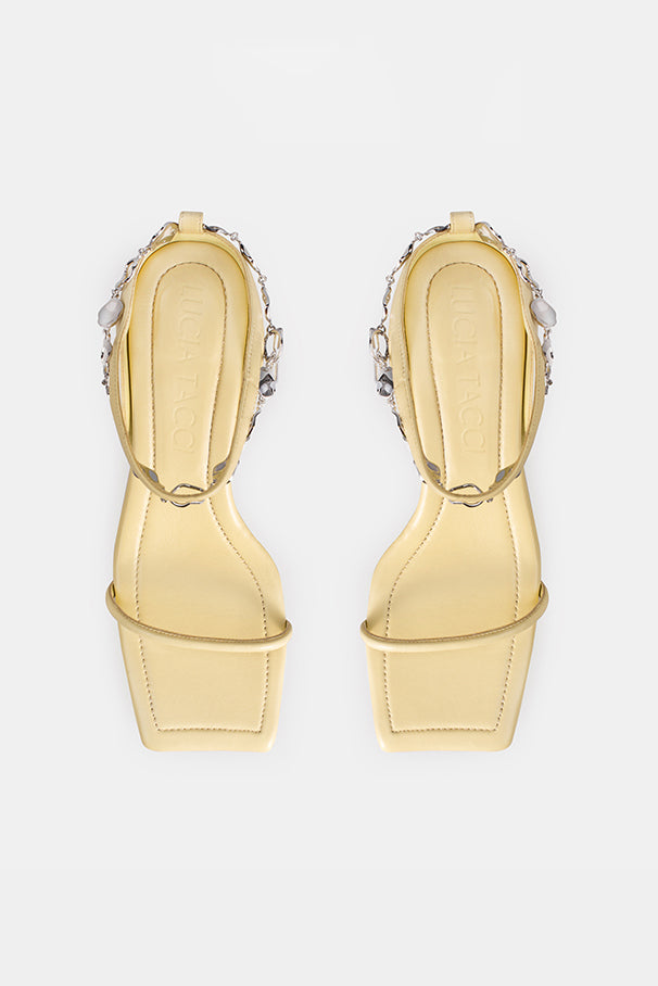 Paz Metal Chain Square Slippers - Yellow
