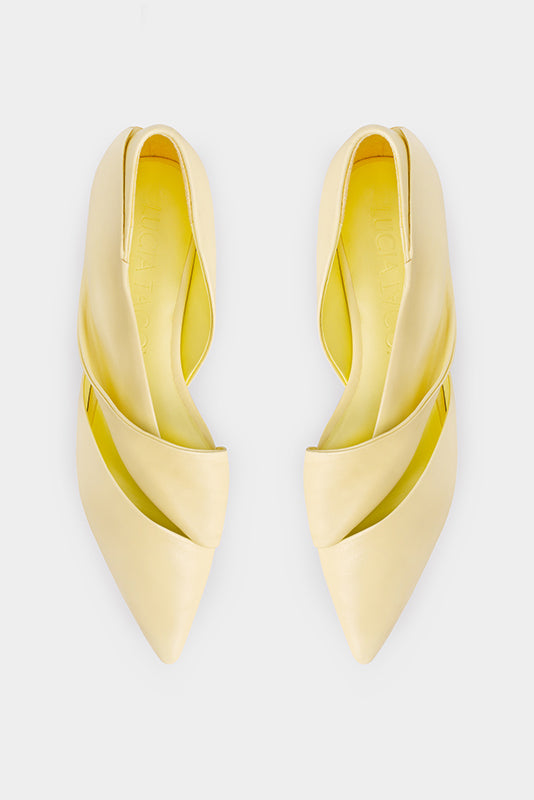 ROMA Ruffled Belt Flat Sandals - Yellow