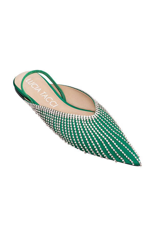 Theia Satin Zircon Chain Embellished Flat Sandals - Green