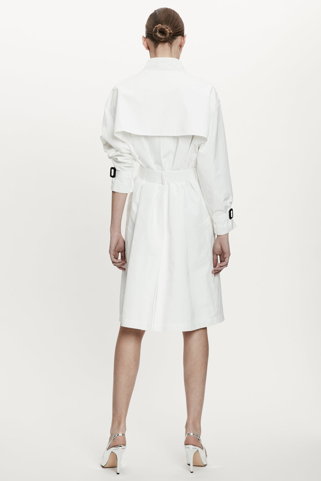 White Double-Breasted Trench Coat