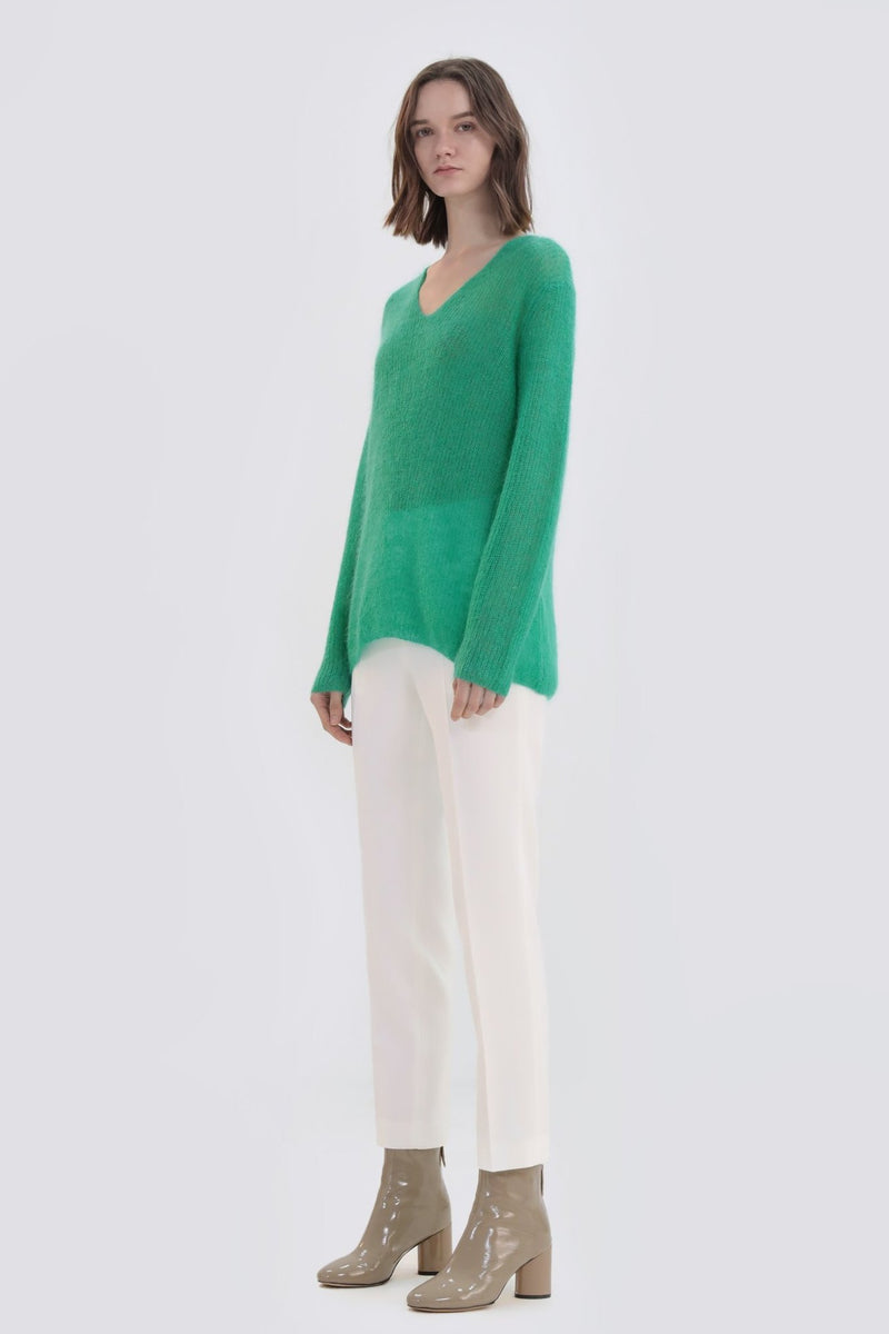 V-Neck Mohair Knit Top