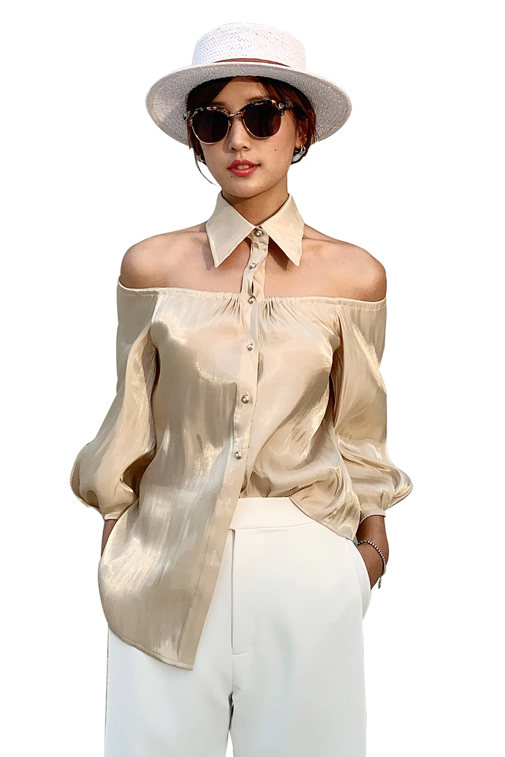 Boat Neck Strapless Shirt