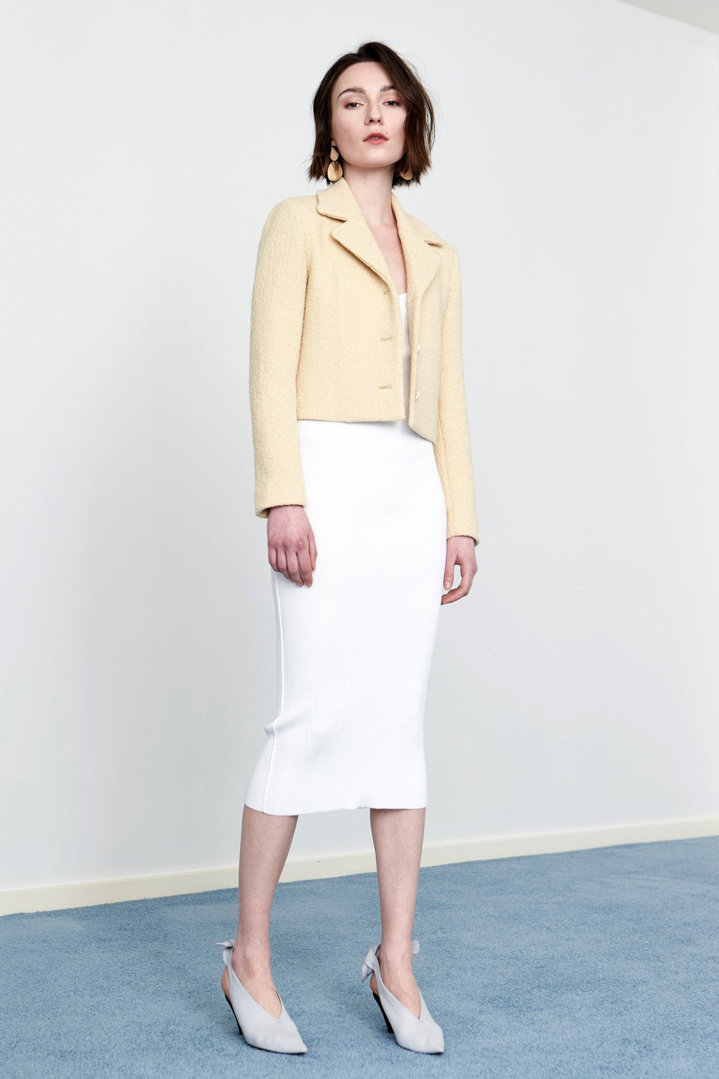 YUEL XIANG yellow wool blazer jacket