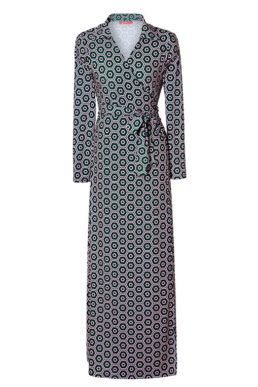 LANG&LU collar maxi wrap dress 02