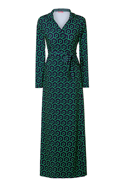 LANG&LU collar maxi wrap dress 03