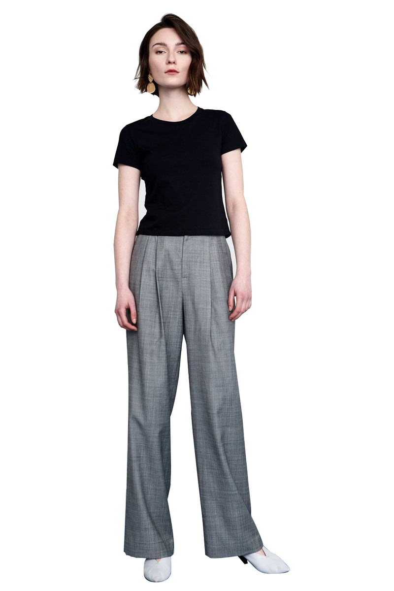 Wide Leg Grey Trousers