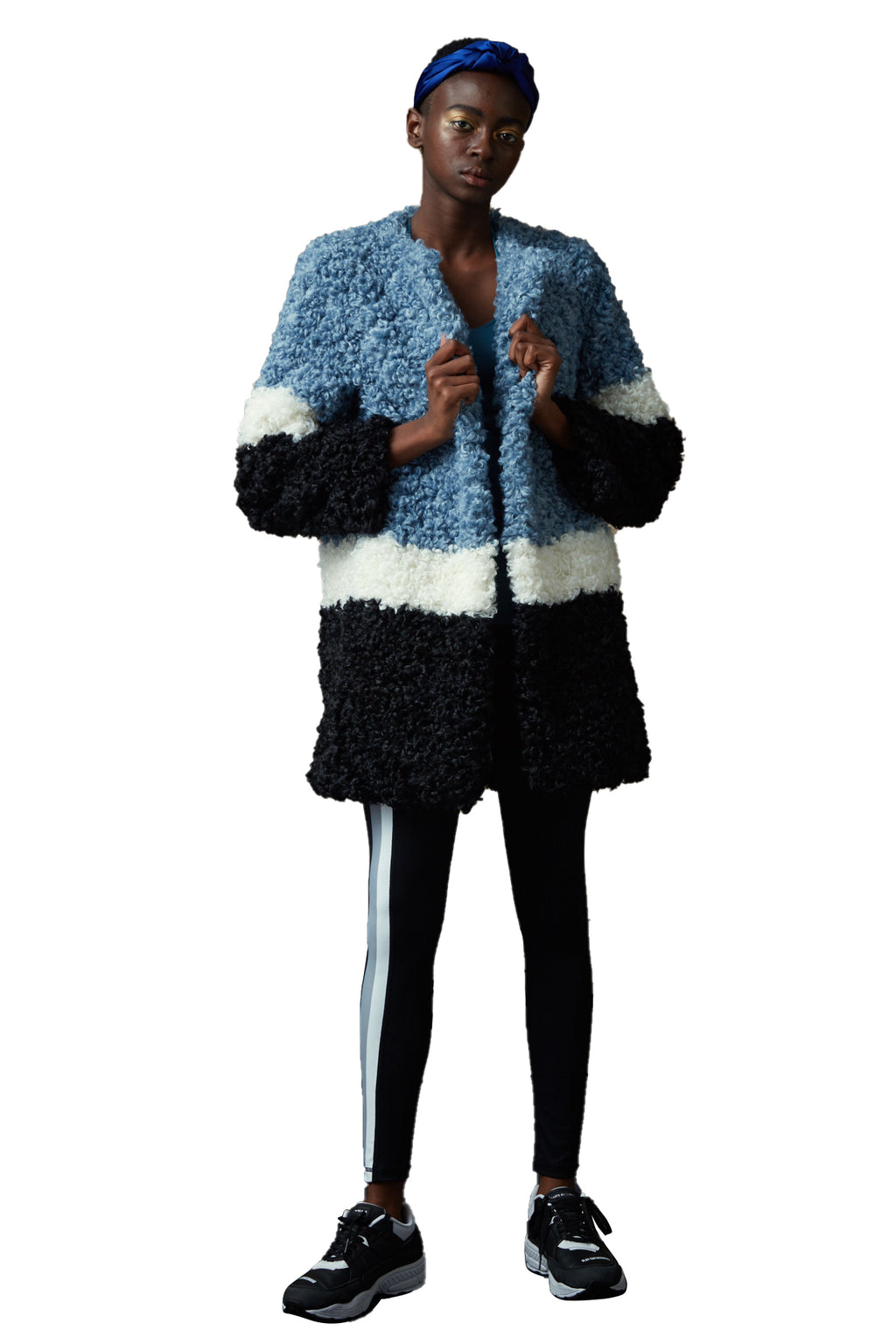 Stitching Color Curly Faux Fur Coat