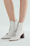 Rumble Stretch Sheepskin Buckle Booties - White