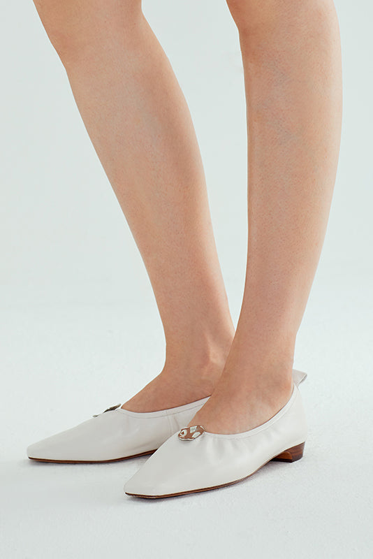 Sheepskin Metal Buckle Flats - White