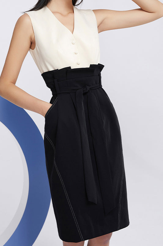 Black And White Waistcoat High Waist Dress