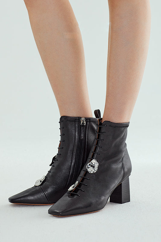 Rumble Stretch Sheepskin Buckle Booties - Black