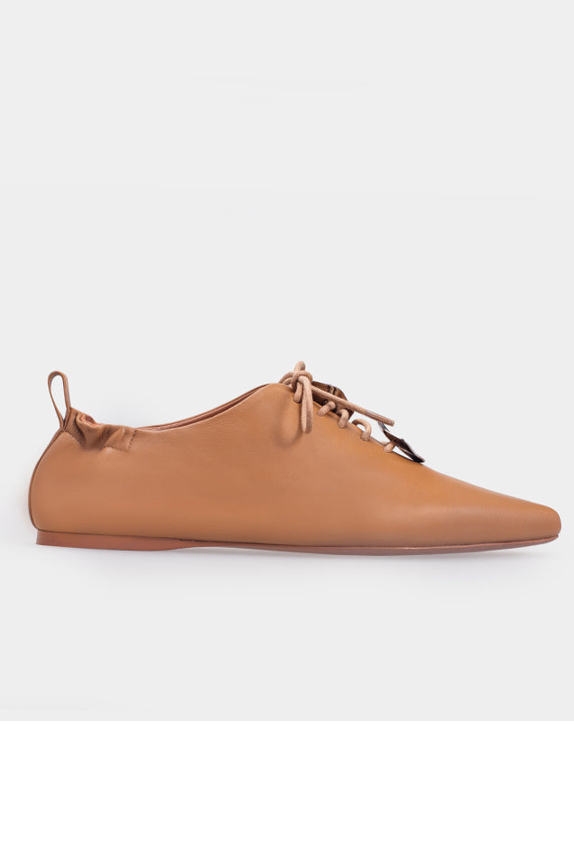 Sheepskin Metal Lace Up Flat Shoes Shell - Brown
