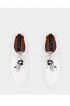 Sheepskin Metal Lace Up Flat Shoes Shell - White