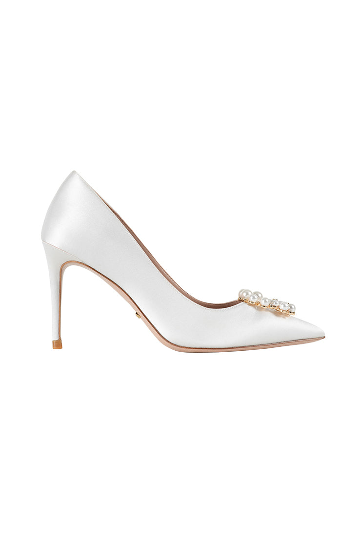 Silk Pearl Buckle High Heels - White