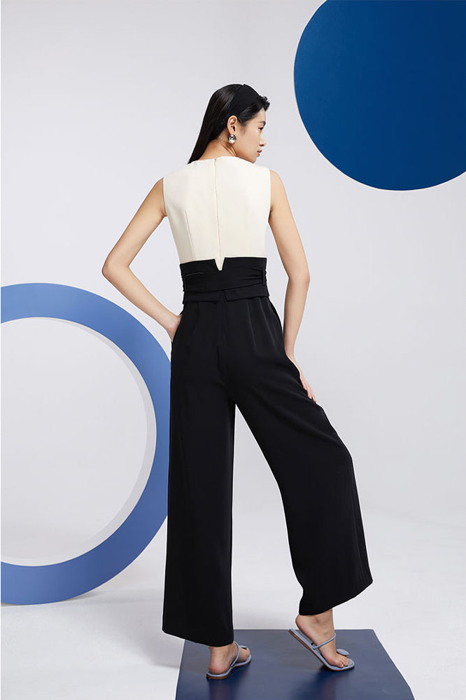 Black And White Waistcoat High Waist Jumpsuit