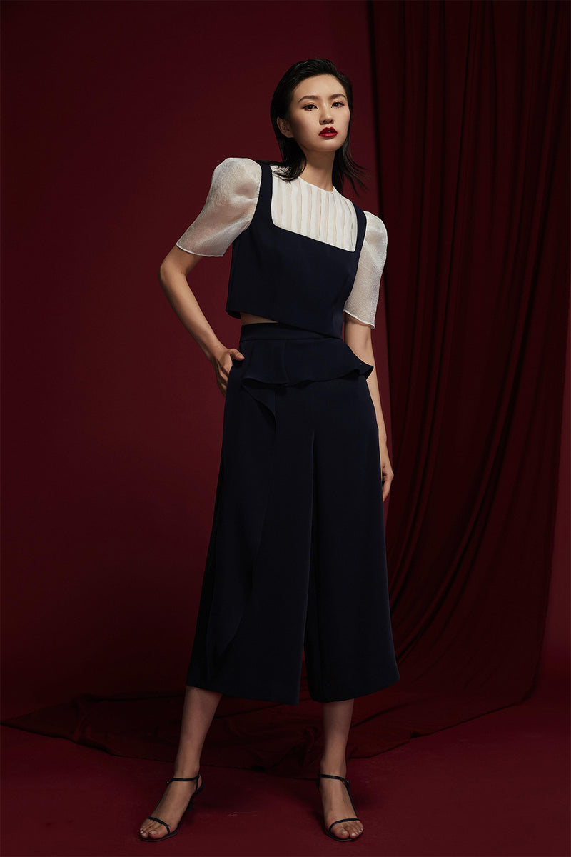 Decorative Ruffled Cropped High-Waist Pants