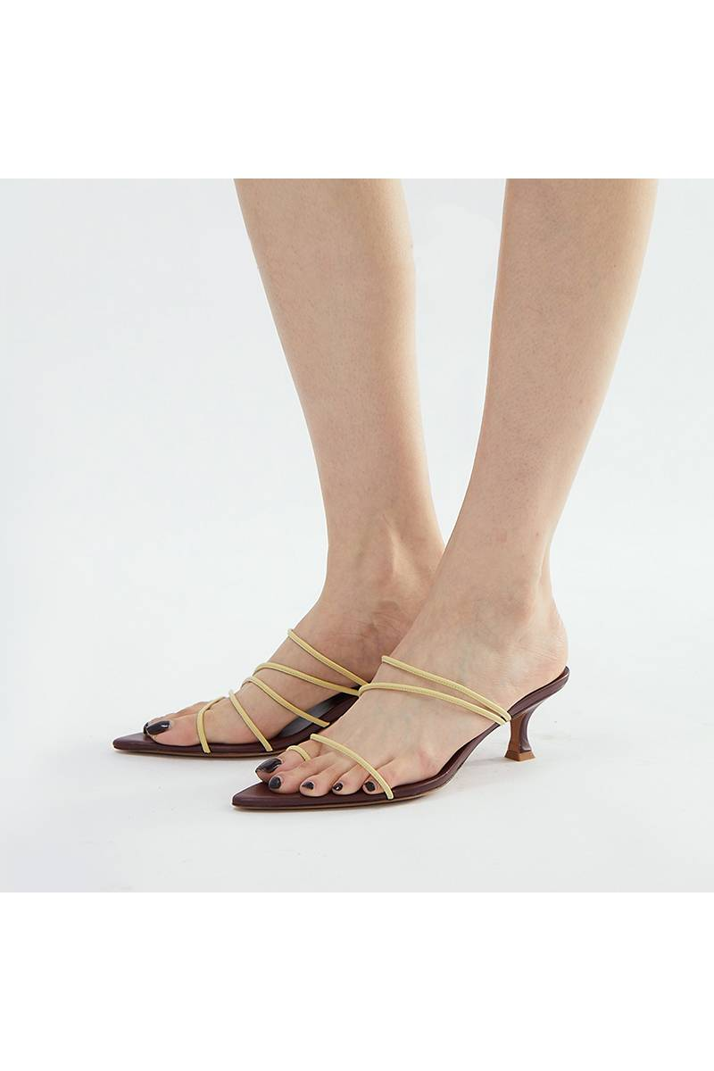 Color Stripe Asymmetric Sandals - Yellow