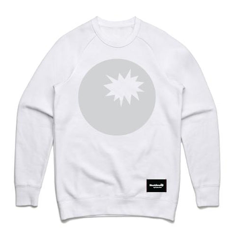 white crew sweatshirt - white sweat bomb on front