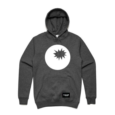 hoodie charcoal - bomb on hood -blackhead-clothing