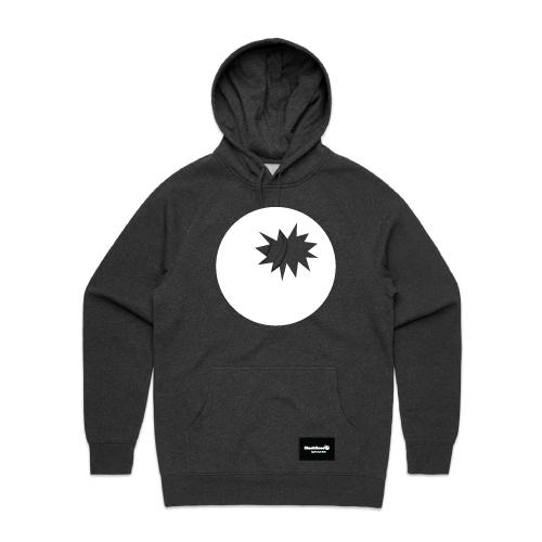 hoodie charcoal - bomb on hood - blackhead-clothing