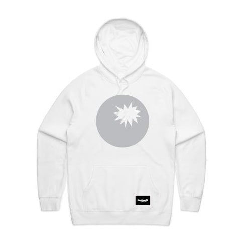 hoodie white - bomb on hood - blackhead-clothing