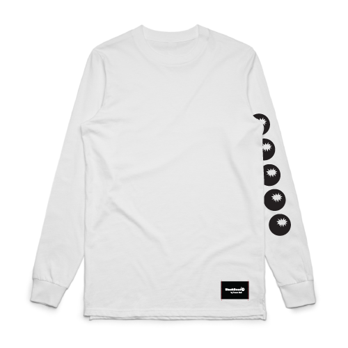 t-shirt white long-sleeve - bombs on sleeve - blackhead-clothing