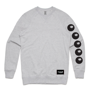 sweatshirt grey - bombs on sleeve - blackhead-clothing