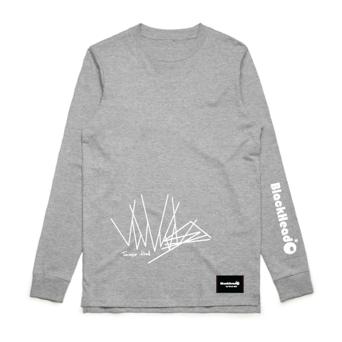 t-shirt grey long sleeve -zig zag lines - blackhead-clothing