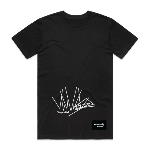 t-shirt black - zig zag lines - blackhead-clothing