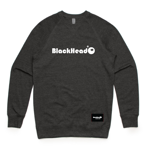 Charcoal crew sweatshirt - crew sweat logo Blackhead