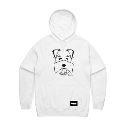hoodie white - schnauzer - blackhead-clothing
