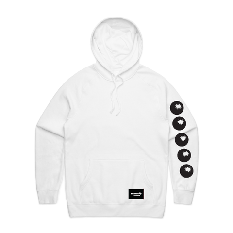hoodie white - bombs on sleeve - blackhead-clothing