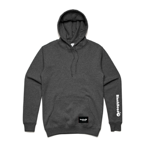 Blackhead logo on hoodie sleeve charcoal