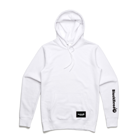 Blackhead logo on hoodie sleeve white