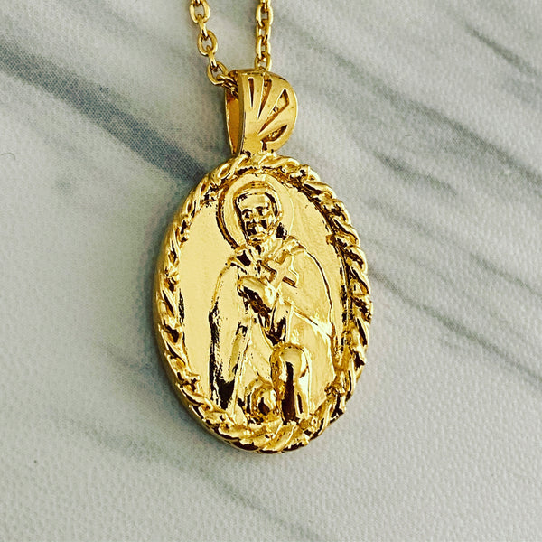 18K Gold Vermeil Thorn Frame Saint Peregrine Necklace - Divine Box
