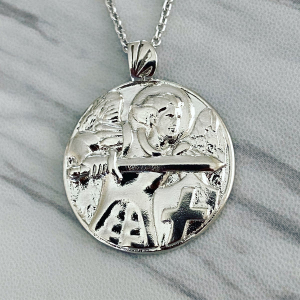 Sterling Silver Saint Michael Round Necklace - Divine Box