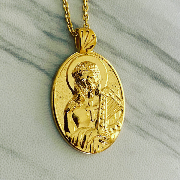 18K Gold Vermeil Saint Cecilia Necklace Harp - Divine Box