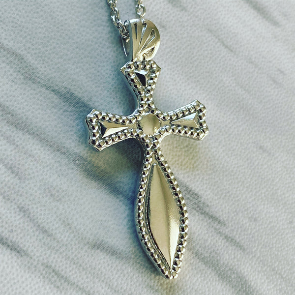 Sterling Silver Milgrain Medieval Cross Necklace - Divine Box