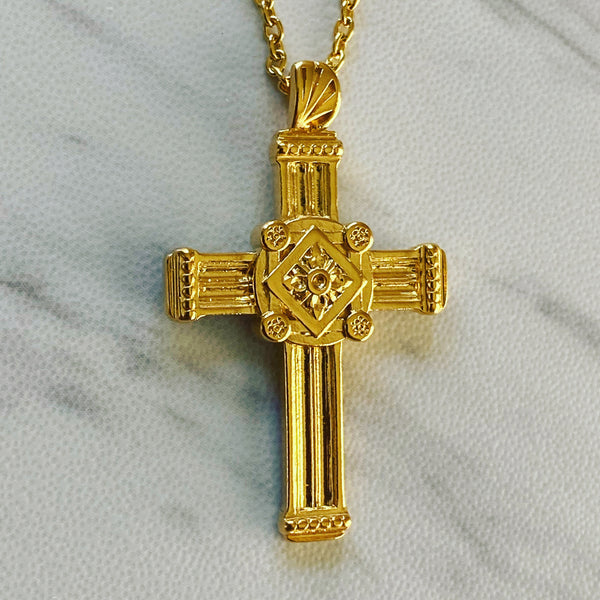 18K Gold Vermeil Gothic Pillar Cross Necklace - Divine Box