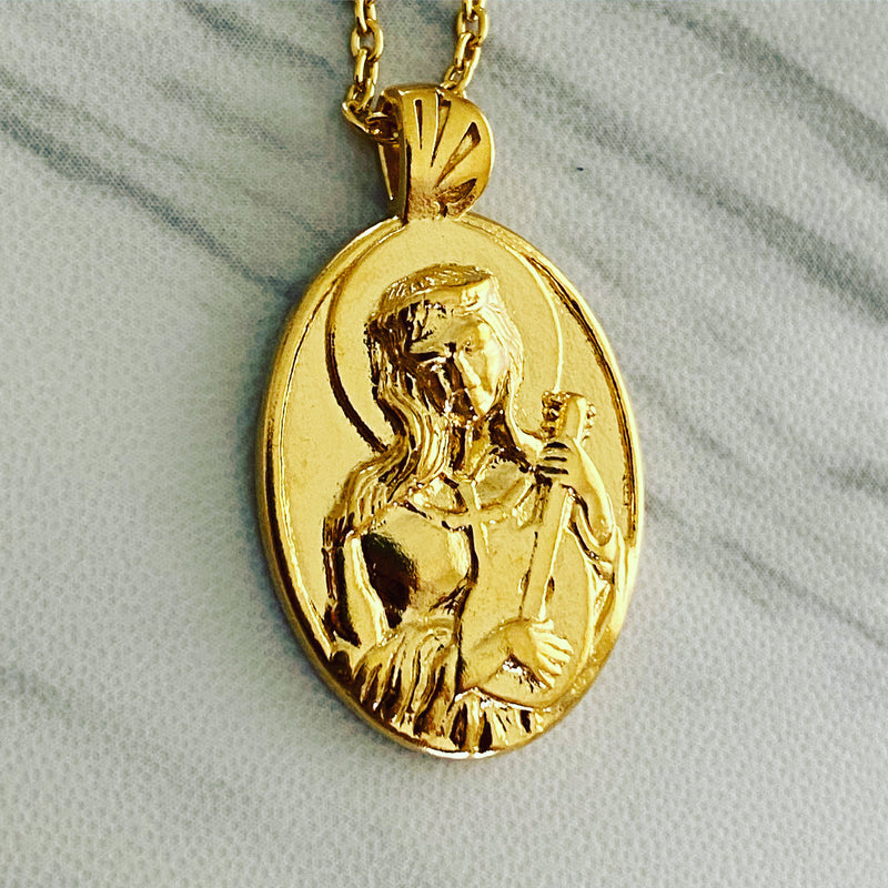 18K Gold Vermeil Saint Cecilia Necklace Guitar - Divine Box