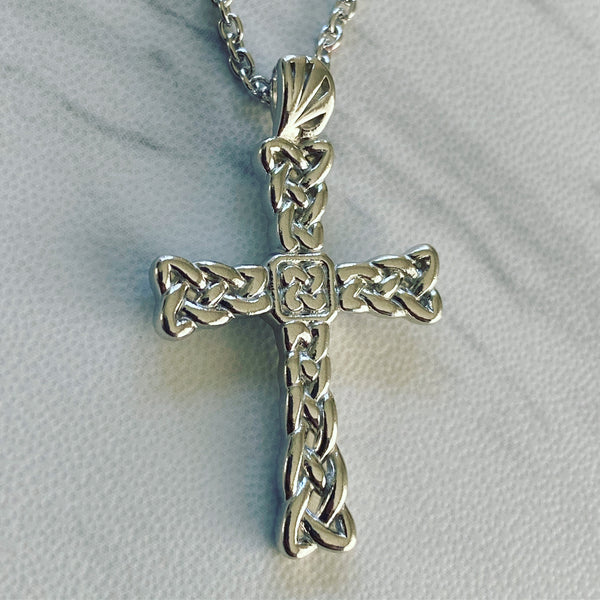 Sterling Silver Celtic Weave Cross Necklace - Divine Box
