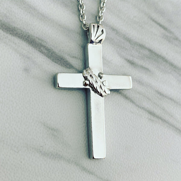 Sterling Silver Rope Cross Necklace - Divine Box