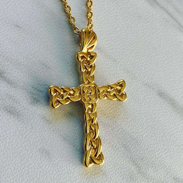 18K Gold Vermeil Celtic Weave Cross Necklace - Divine Box
