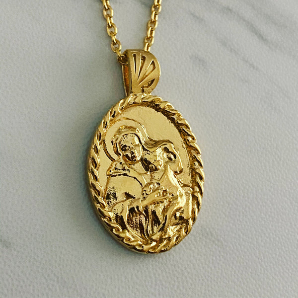 18K Gold Vermeil Thorn Frame Virgin Mary Necklace - Divine Box
