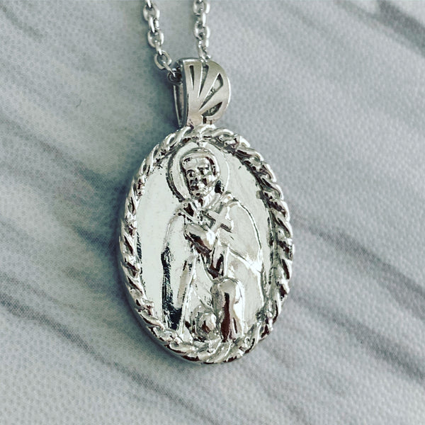 Sterling Silver Thorn Frame Saint Peregrine Necklace - Divine Box